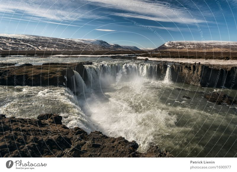 Goðafoss Sky Nature Vacation & Travel Beautiful Landscape Environment Life Natural Earth Island Energy Adventure Waterfall Godafoss
