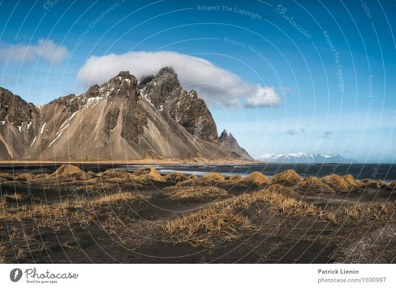 Vestrahorn Sky Nature Vacation & Travel Blue Beautiful Ocean Landscape Clouds Beach Mountain Environment Life Spring Grass Coast Snow