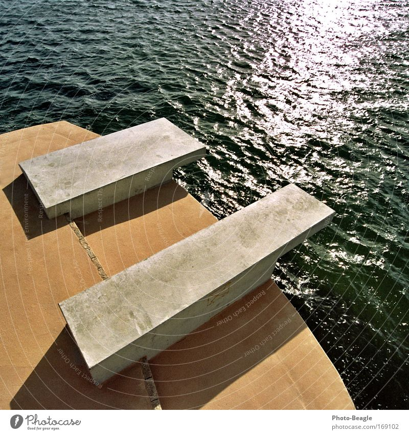 Small thickness please left Springboard Jump Baltic Sea Lake Ocean Water Sea water Baltic states Vacation & Travel Summer Sun Waves Glittering Concrete