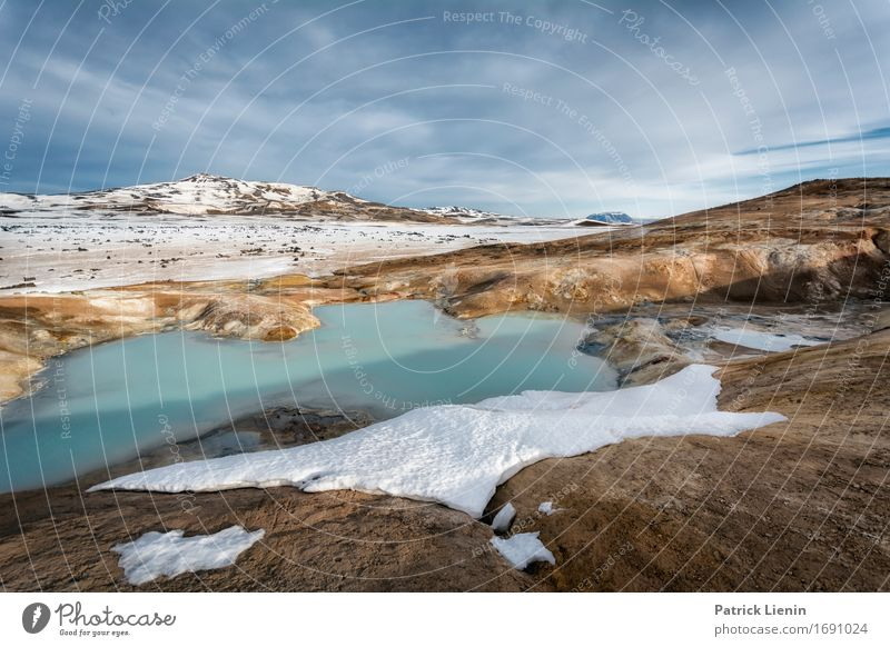 Myvatn winter landscape Sky Nature Vacation & Travel Blue Sun Landscape Clouds Winter Mountain Environment Life Snow Earth Weather Action Vantage point