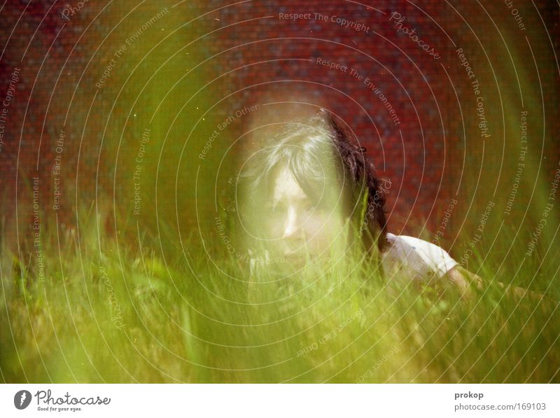 colour collapse Colour photo Multicoloured Exterior shot Day Central perspective Looking Looking into the camera Feminine Young woman Youth (Young adults) Head
