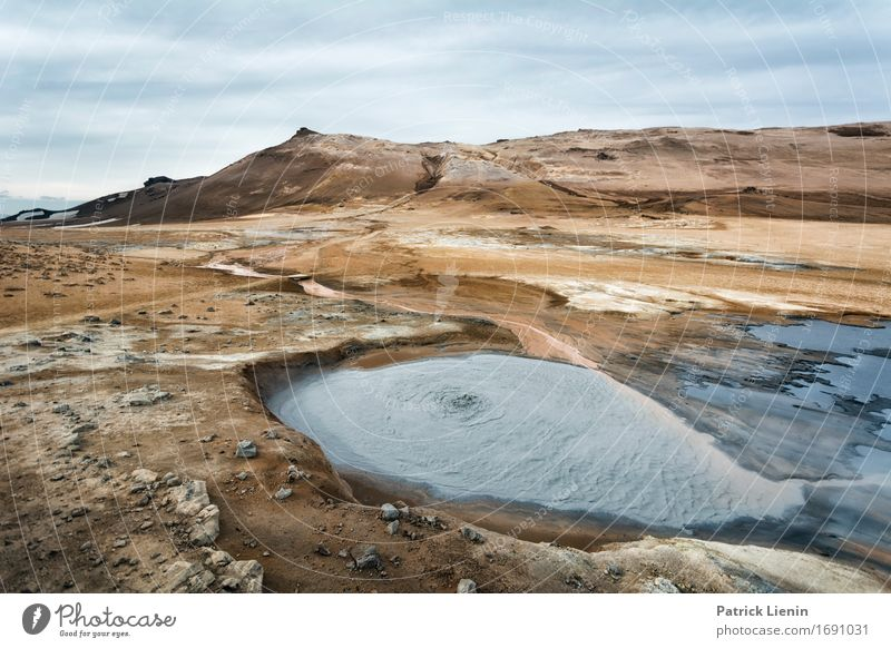 Myvatn mud pools Life Vacation & Travel Adventure Far-off places Freedom Sun Island Winter Mountain Environment Nature Landscape Elements Earth Water Sky Clouds