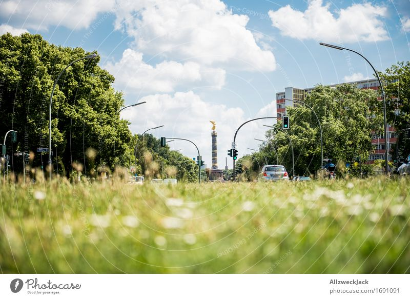 Berlin Capital city Downtown Tourist Attraction Landmark Monument Victory column Berlin zoo Historic Blue Green Nature Clouds in the sky Colour photo