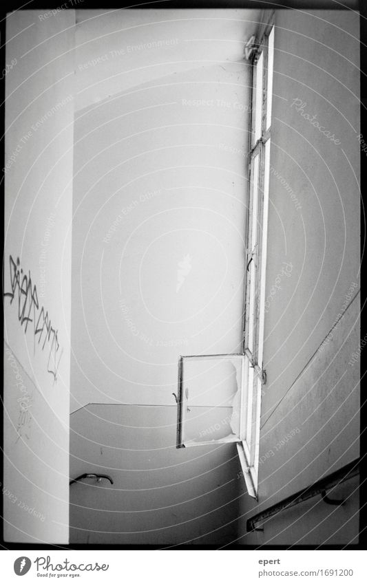 City Window Architecture Wall (building) Graffiti Wall (barrier) Stairs Dirty Gloomy Tall Concrete Broken Change Past Factory Decline