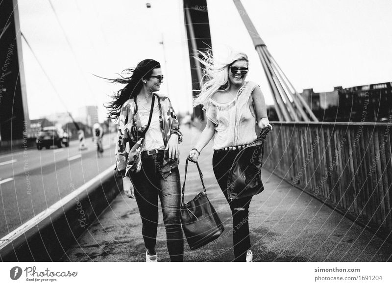 friends Lifestyle Shopping Style Joy Happy University & College student Feminine 2 Human being Town Capital city Downtown Street Bridge Happiness Contentment