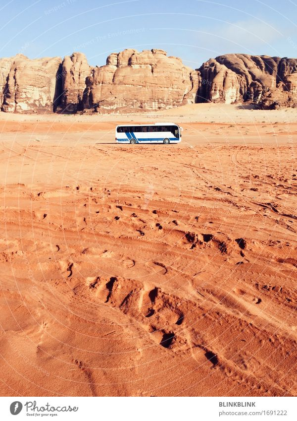 Bus in Wadi Rum Lifestyle Vacation & Travel Tourism Trip Adventure Freedom Expedition Sun Nature Landscape Earth Sky Drought Rock Mountain Canyon Desert Jordan