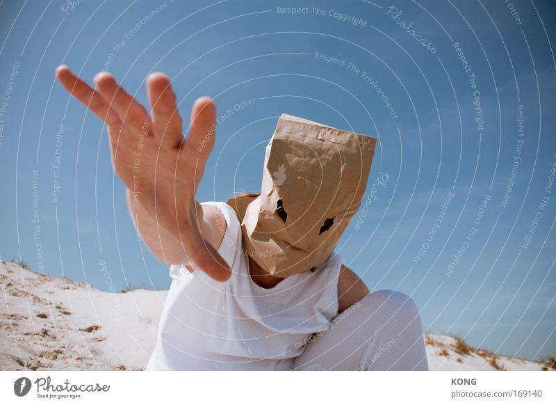 Human being Hand Summer Adults Fear Masculine Dangerous Exceptional Might Threat 18 - 30 years Mask Desert Touch Strong Bizarre