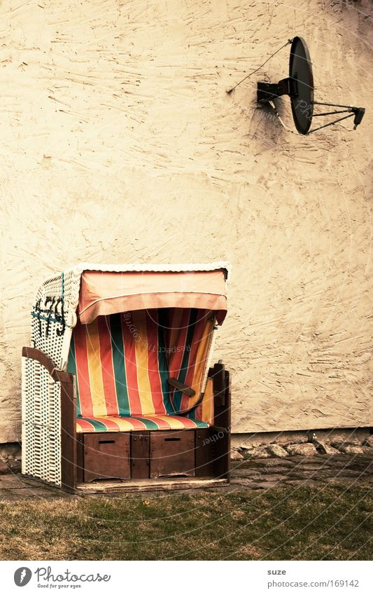Vacation & Travel House (Residential Structure) Loneliness Meadow Wall (building) Garden Wall (barrier) Environment Empty Retro Digits and numbers Beach chair Satellite dish