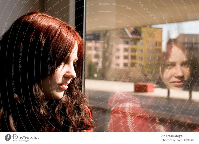 (Berlin) City - At the window Colour photo Day Reflection Portrait photograph Looking away Vacation & Travel Tourism Trip Far-off places Sightseeing City trip