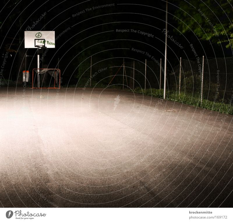 night time Colour photo Exterior shot Evening Night Long exposure Playing Basketball basketball court Basketball arena Sporting Complex Deserted Sports