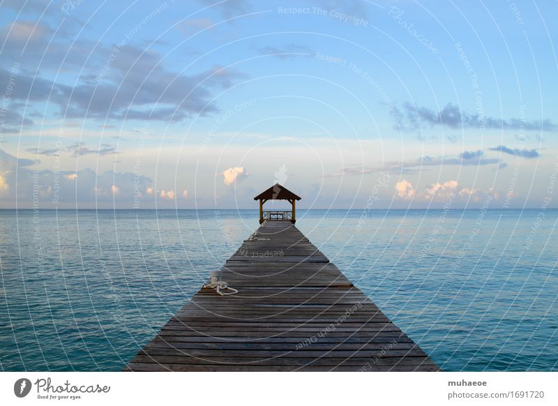 Sky Vacation & Travel Blue Summer Water Ocean Relaxation Calm Coast Freedom Horizon Beautiful weather Wellness Wanderlust Footbridge Jetty