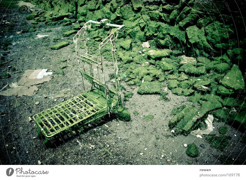aqua-shopping Colour photo Subdued colour Exterior shot Deserted Shopping Trolley Dive Old Dark Cold Transience Change Ocean Water Algae Green Overgrown Trash