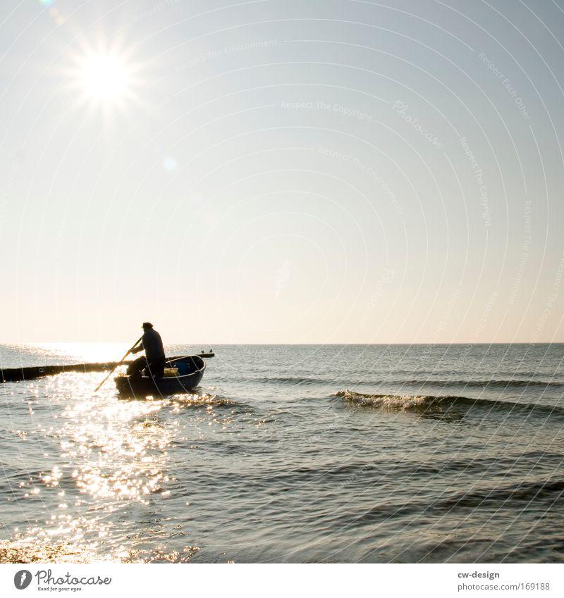 Human being Sky Man Water Summer Sun Adults Life Senior citizen Coast Lake Work and employment Ocean Glittering Masculine Beautiful weather