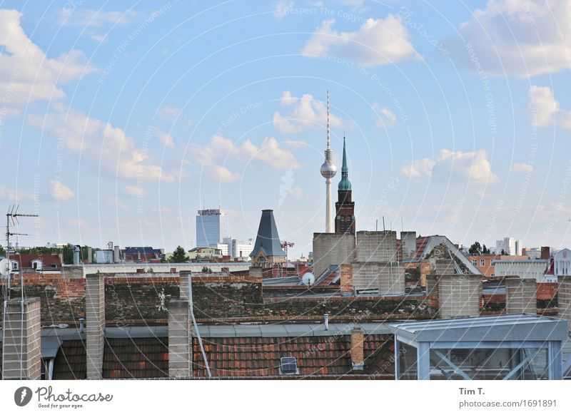 Berlin 2016 Berlin TV Tower Prenzlauer Berg Town Capital city Downtown Old town Skyline Deserted Roof Chimney Antenna Horizon Clouds Colour photo Exterior shot