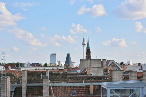 Sky City Clouds Horizon Roof Skyline Capital city Downtown Old town Chimney Berlin TV Tower Antenna Prenzlauer Berg