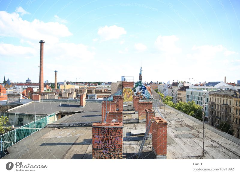 Sky over Berlin Town Capital city Downtown Old town Skyline Deserted House (Residential Structure) Roof Chimney Antenna Discover Clouds Television tower