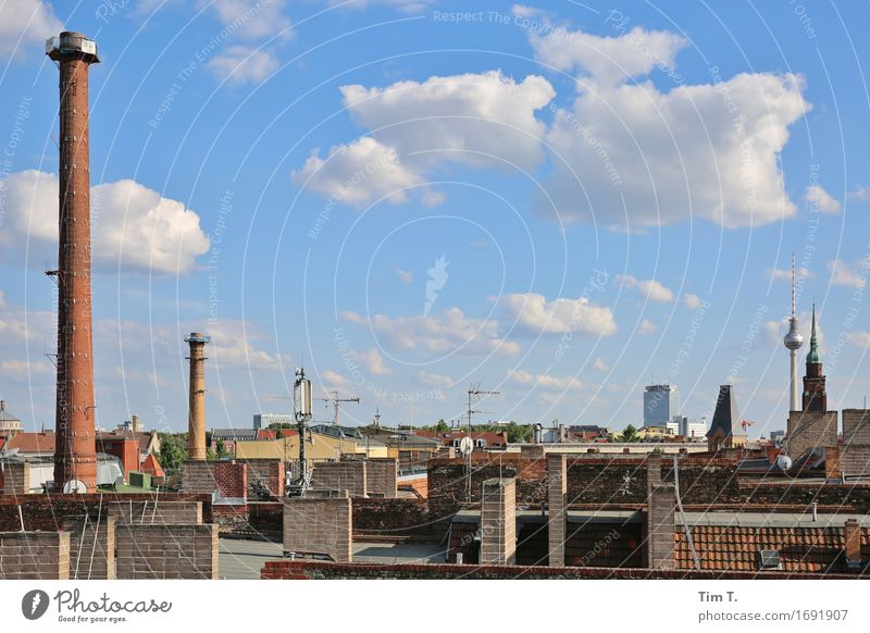 Sky over Berlin Prenzlauer Berg Television tower Town Capital city Downtown Old town Skyline Roof Chimney Antenna Loneliness Clouds Colour photo Exterior shot