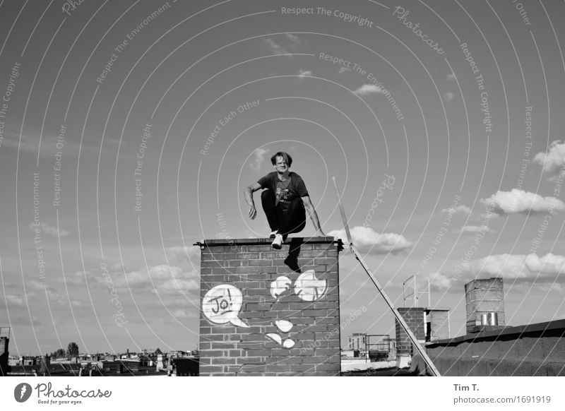 Human being Sky Man City Clouds Adults Graffiti Berlin Masculine 45 - 60 years Roof Capital city Downtown Old town Chimney Identity
