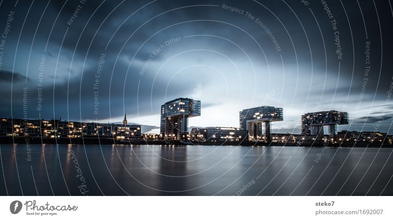 City Rain Glittering Modern High-rise River Harbour Skyline Landmark Cologne Maritime Bad weather Rhine