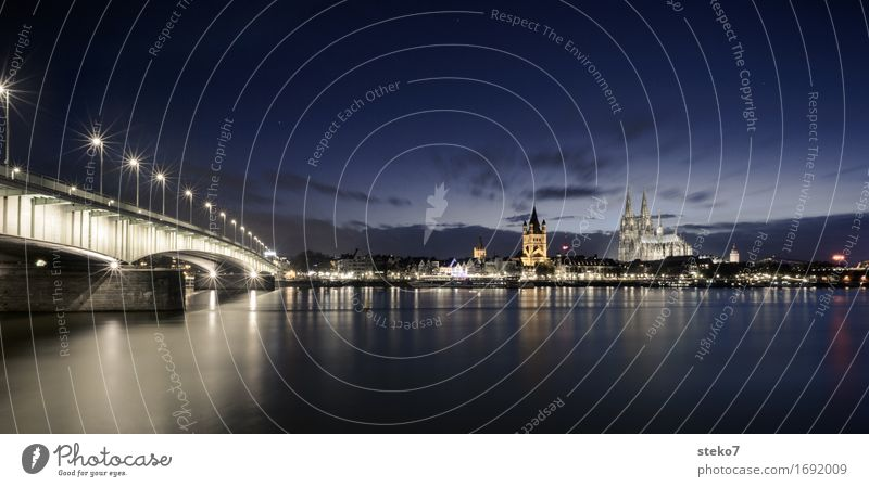 Deutzer Bridge Night sky River Rhine Cologne Skyline Church Dome Tourist Attraction Landmark Cologne Cathedral Esthetic Contentment Belief Religion and faith