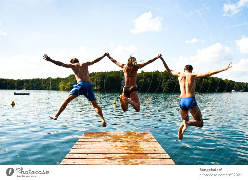 jump Life Harmonious Contentment Relaxation Calm Leisure and hobbies Playing Vacation & Travel Tourism Adventure Freedom Summer Summer vacation Sun Human being