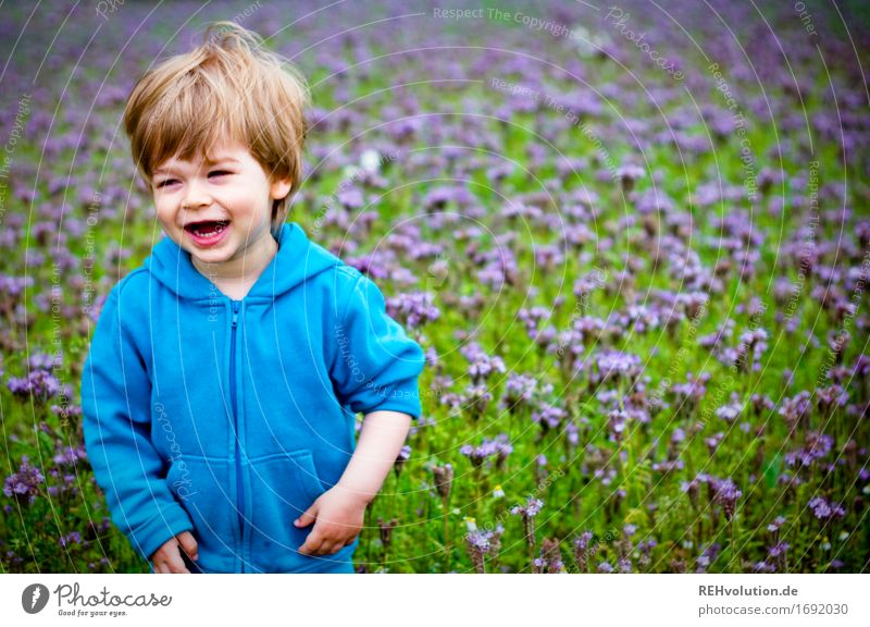 Human being Child Nature Youth (Young adults) Blue Green Landscape Joy 18 - 30 years Adults Environment Meadow Funny Natural Boy (child) Laughter