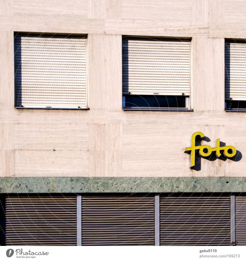 photo Colour photo Exterior shot Deserted Copy Space middle Leisure and hobbies Brown Yellow Gray Passion Take a photo Photo shop Wall (building) Window