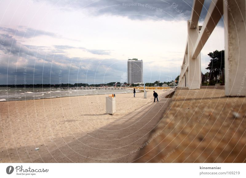 Human being Vacation & Travel Ocean Beach Waves Wind Walking Trip High-rise Baltic Sea Young woman Port City