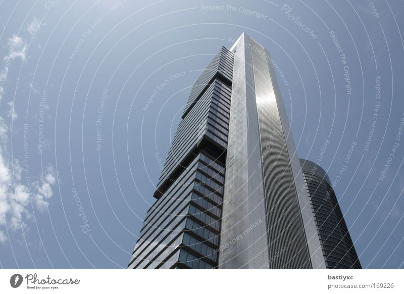 Blue Work and employment Gray Power Glittering Large High-rise Tall Energy industry Silver Respect Building Madrid Transformer