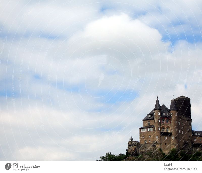Katz Castle fortified castle cat Clouds Witch Rhine Fortress Vacation & Travel Sky Masonry Lookout tower Customs Paying Entrance Historic Fairy tale Historicism