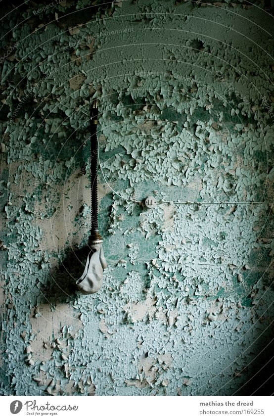 Old Blue Green Dark Cold Wall (building) Wall (barrier) Facade Exceptional Cable Threat Factory Creepy Ruin Plaster Hang