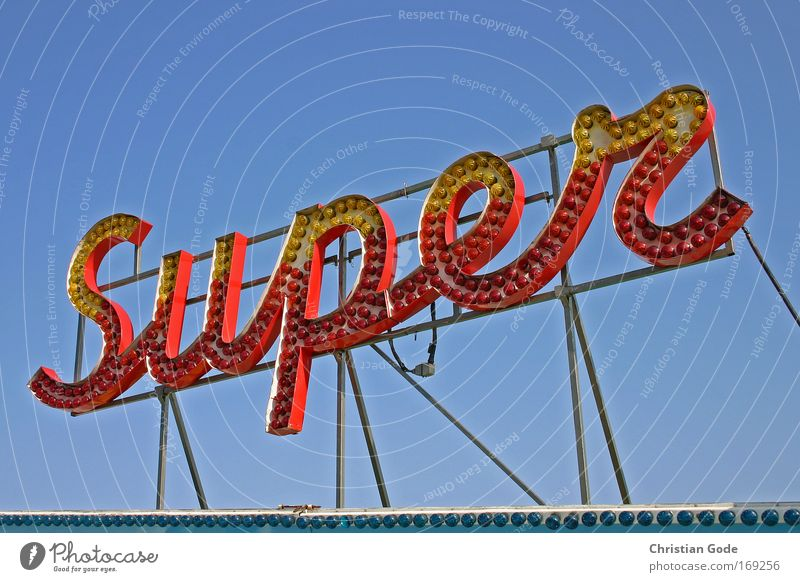 SUPER Colour photo Exterior shot Deserted Copy Space left Copy Space right Neutral Background Worm's-eye view Upward Leisure and hobbies Blue Fairs & Carnivals