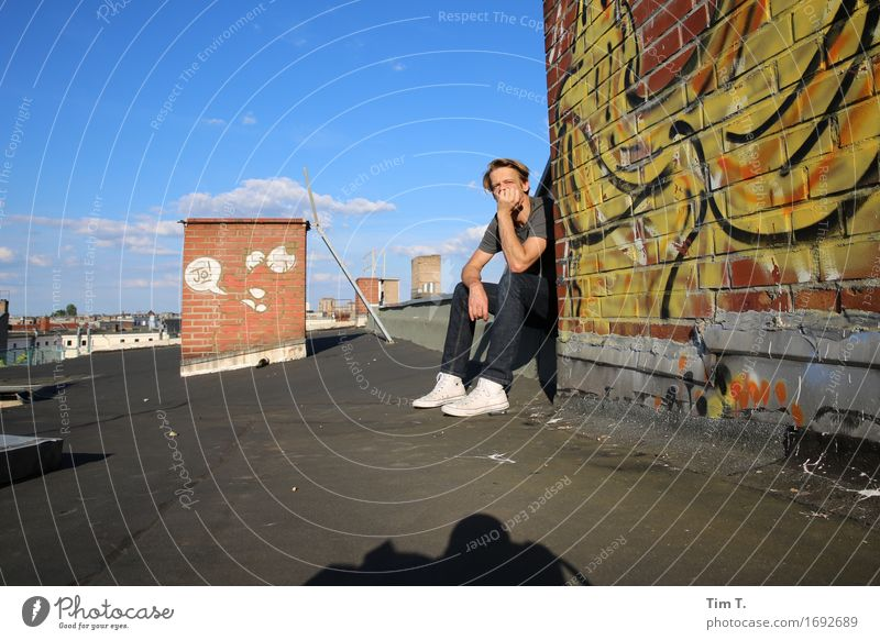 Peace and quiet in the city Human being Masculine Man Adults 1 45 - 60 years Berlin Town Capital city Downtown Old town House (Residential Structure) Roof