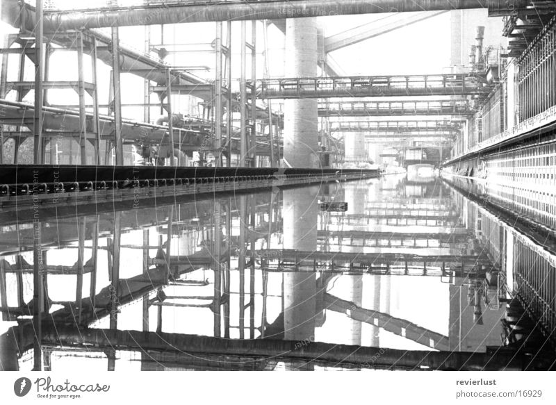 top-cookery-bottom Black White Industry Black & white photo Industrial plant Water reflection Central perspective Industrial Photography Industrial construction