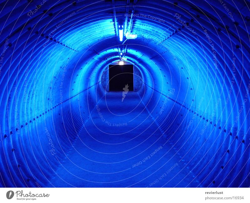 blue access Light Tunnel Industry Blue Corridor
