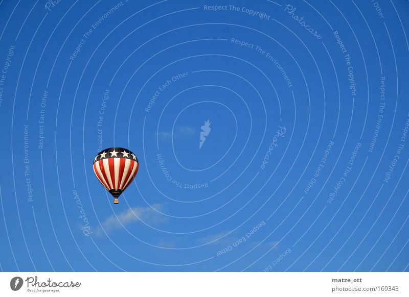 yes we can Colour photo Exterior shot Aerial photograph Neutral Background Day Upward Means of transport Aviation Aircraft Hot Air Balloon Flying