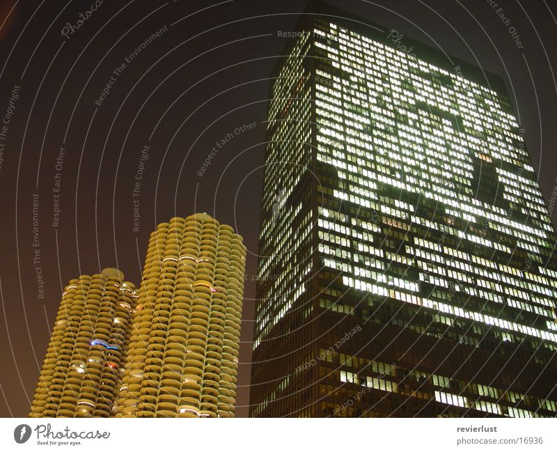 MarinaCity vs. IBM Chicago High-rise Night Long exposure Americas Architecture Marina City Mies van der Rohe Modern