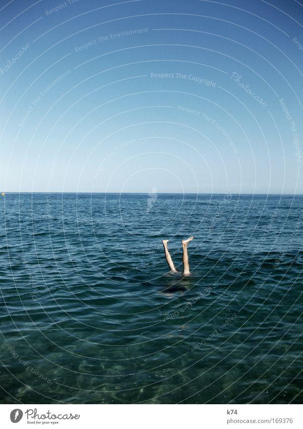 Human being Sky Man Water Ocean Summer Joy Adults Relaxation Landscape Coast Legs Air Feet Horizon Contentment