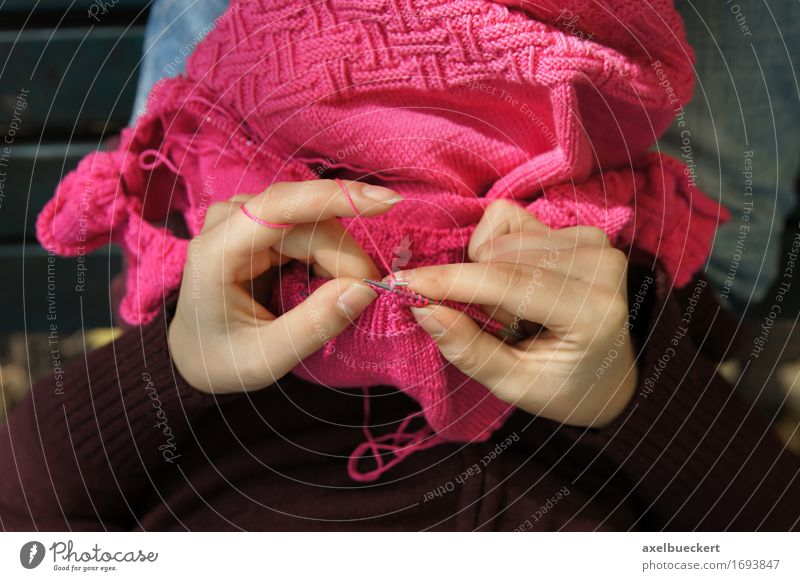 woman knitting from point of view Human being Woman Youth (Young adults) Young woman Hand Relaxation Adults Feminine Lifestyle Pink Leisure and hobbies Perspective Clothing Fingers Handicraft Sweater