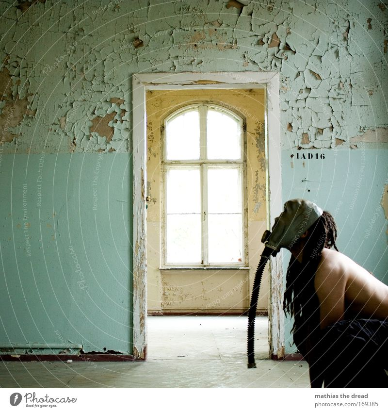 Human being Old Adults Cold Dark Window Dog Wall (building) Bright Room Closed Skin Wait Open Masculine Esthetic