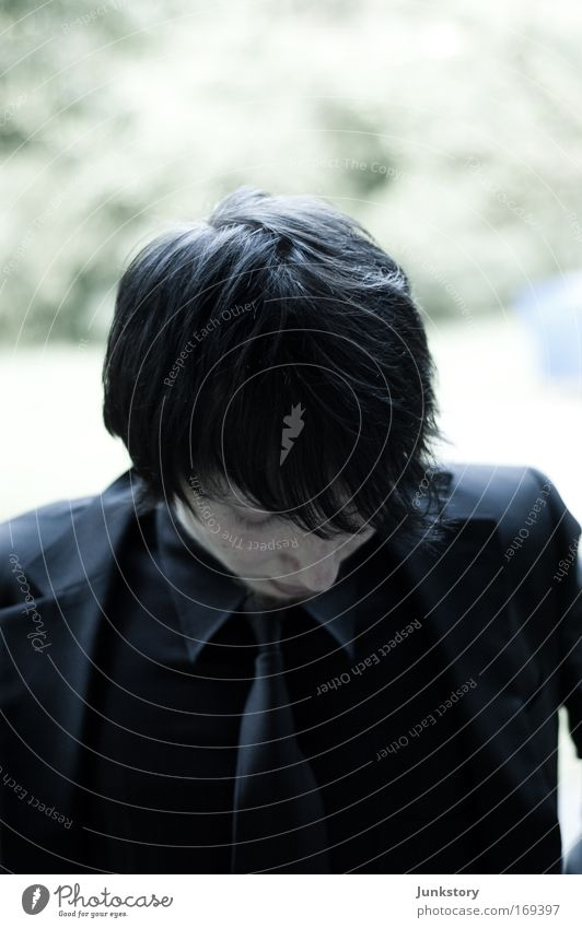 Youth (Young adults) Man Dark Black Sadness Death Think Meditative Jacket Suit Thought Black-haired Goodbye Tie Timidity Funeral