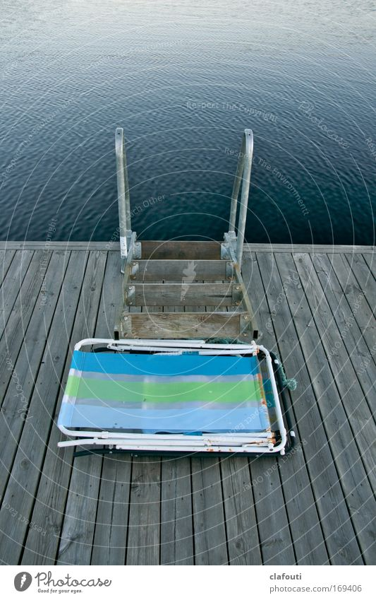 My folding chair, my bathing jetty, my lake... Colour photo Exterior shot Deserted Copy Space top Copy Space bottom Day Vacation & Travel Summer Summer vacation