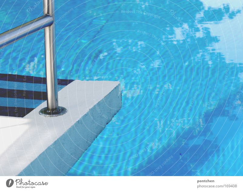 Water Blue Summer Vacation & Travel Sports Jump Wet Concrete Tourism Swimming pool Leisure and hobbies Stripe Brave Handrail Refreshment