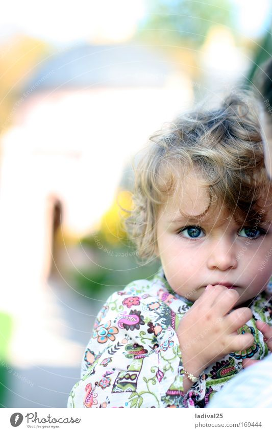 little thinker Colour photo Exterior shot Day Sunlight Blur Portrait photograph Upper body Front view Looking Forward Human being Child Toddler Girl 1