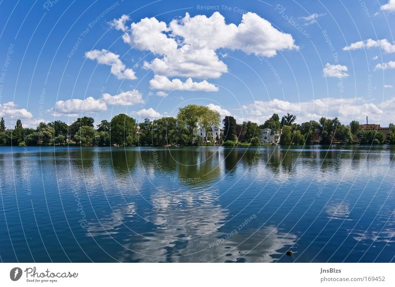 Sky Nature Water Blue White Tree Summer Clouds Calm House (Residential Structure) Relaxation Landscape Lake Park Peace Lakeside
