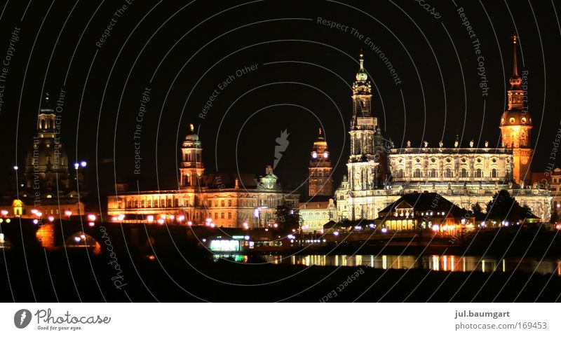 Dresden at night Colour photo Exterior shot Deserted Night Artificial light Light Long exposure Panorama (View) Vacation & Travel Tourism Trip Sightseeing
