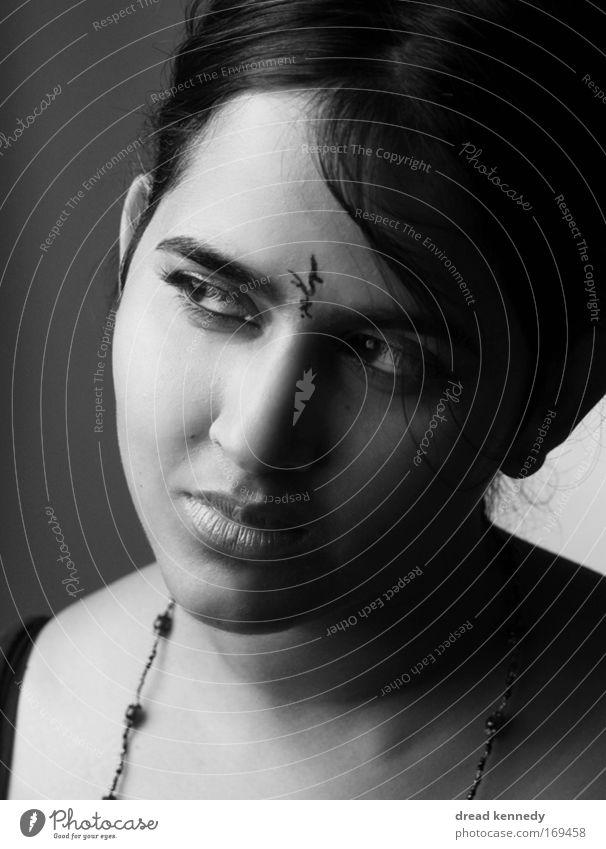 lilith Black & white photo Studio shot Copy Space bottom Neutral Background Flash photo Shadow Contrast Portrait photograph Looking Forward Elegant Style Design