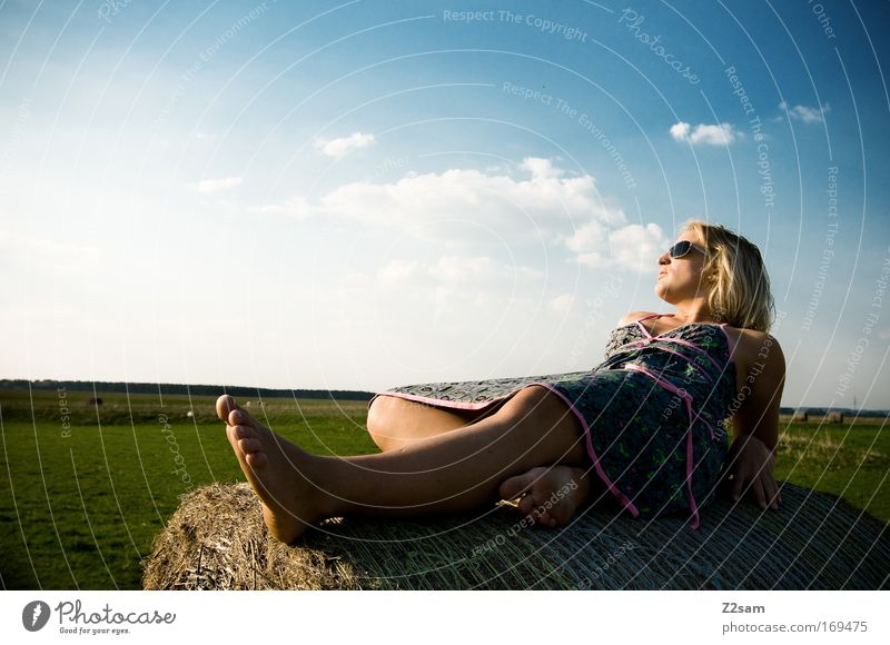Human being Sky Youth (Young adults) Beautiful Summer Clouds Calm Relaxation Feminine Landscape Adults Happy Style Think Dream