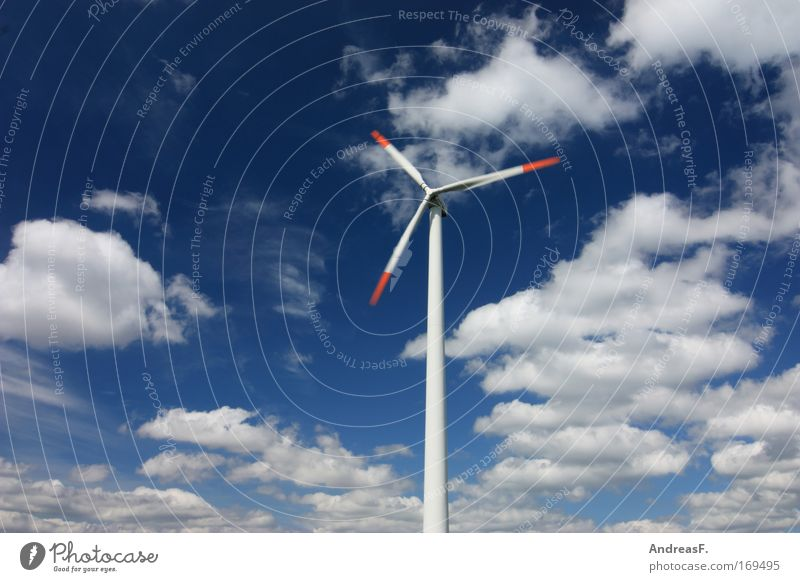 wind power Colour photo Exterior shot Copy Space left Copy Space top Day Sunlight Motion blur Industry Energy industry Technology Renewable energy