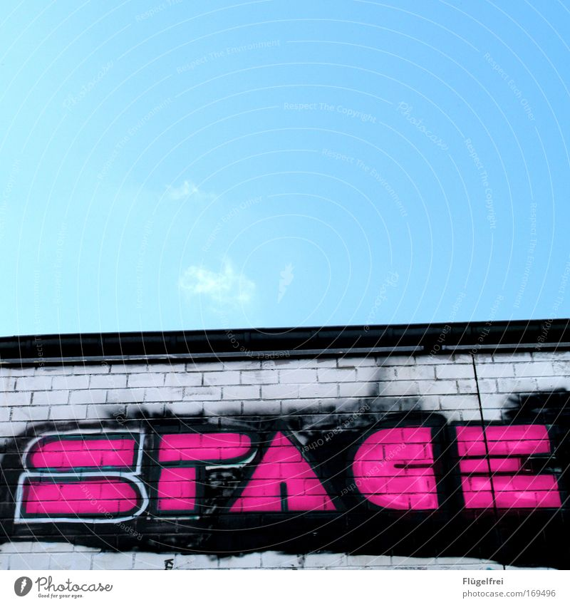 Lost in Art Wall (barrier) Wall (building) Freedom Universe space Sky Beautiful weather Sprayed Pink Style Dirty Border Infinity Contrast Tall typographically